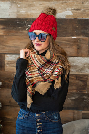 Classic Style Blanket Scarf : Camel, Black, Red