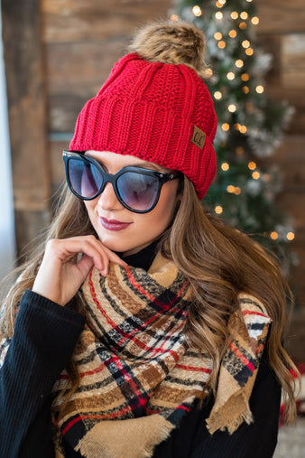 CC Beanie With Pom: Red