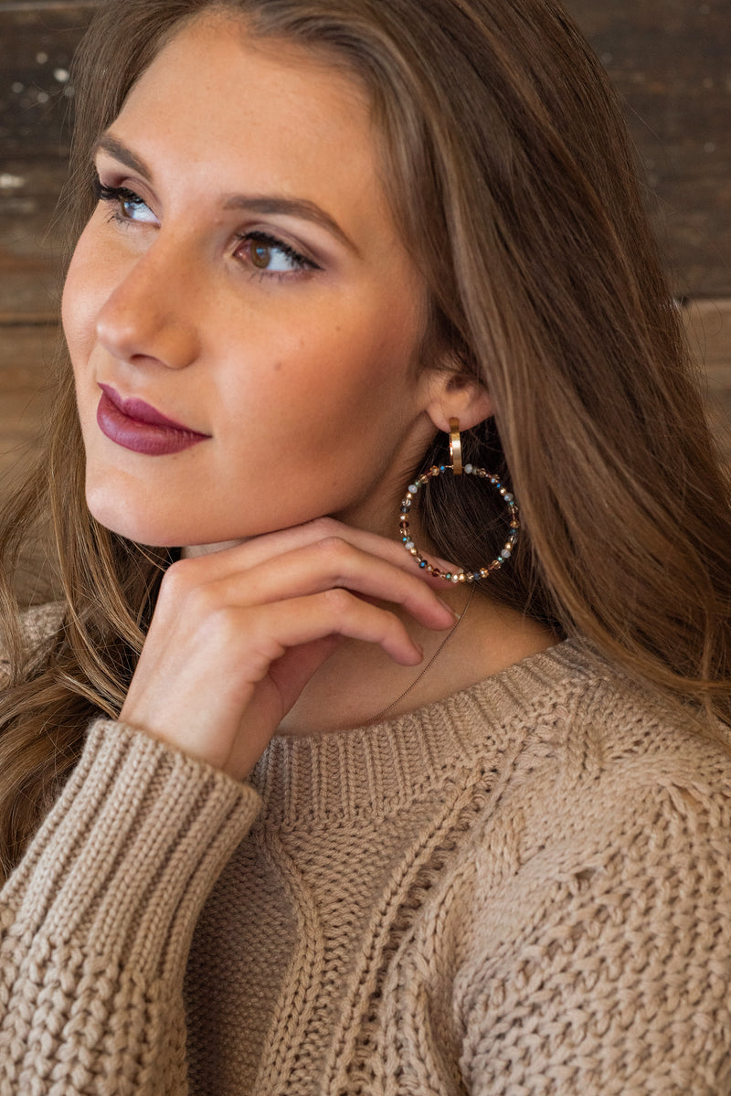 Lydia Beaded Hoop Earrings : Multi