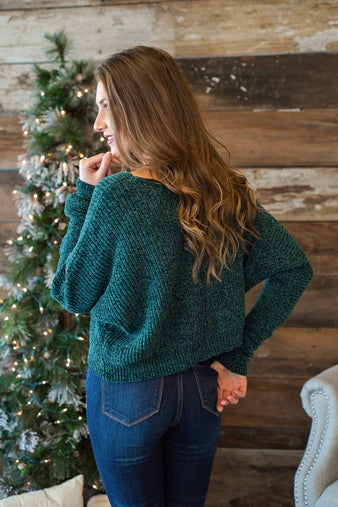 Santa Tell Me Cropped Sweater : Green