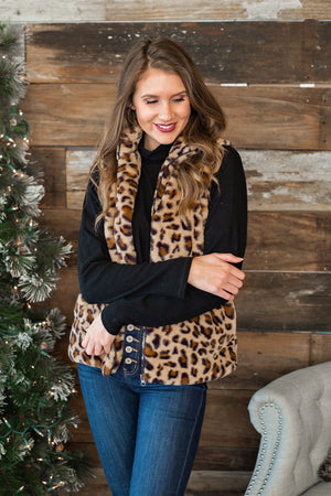 Seeing Spots Animal Print Plush Zip Up Vest : Mocha