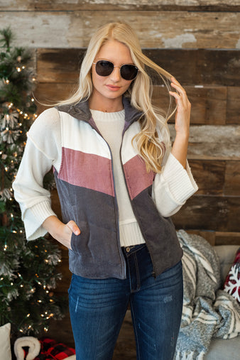 Grab The Skis Corduroy Vest : Deep Purple/Mauve