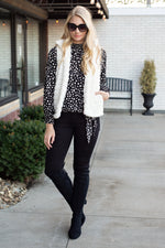 Winter Chalet Faux Fur Plush Zip Up Vest : Ivory