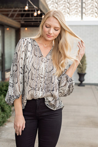Social Hour Snake Print Top : Taupe/Brown