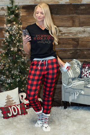 Buffalo Plaid Soft Jogger Pajama Pants : Red& Black