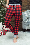 Kids Buffalo Plaid Soft Jogger Pajama Pants : Red&Black