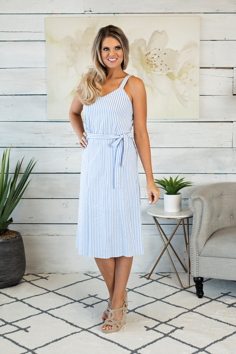 French Fling Midi Dress : Blue/White