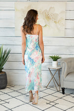 Dreaming Of Paradise Tie Dye Midi Dress : Aqua/Blush