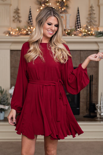 Merry & Bright Full Ruffle Dress : Burgundy