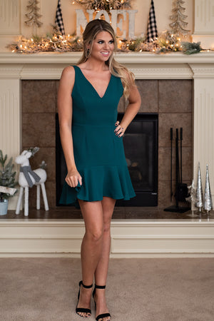 Holidays in the Everglades Fit & Flare Dress : Hunter Green