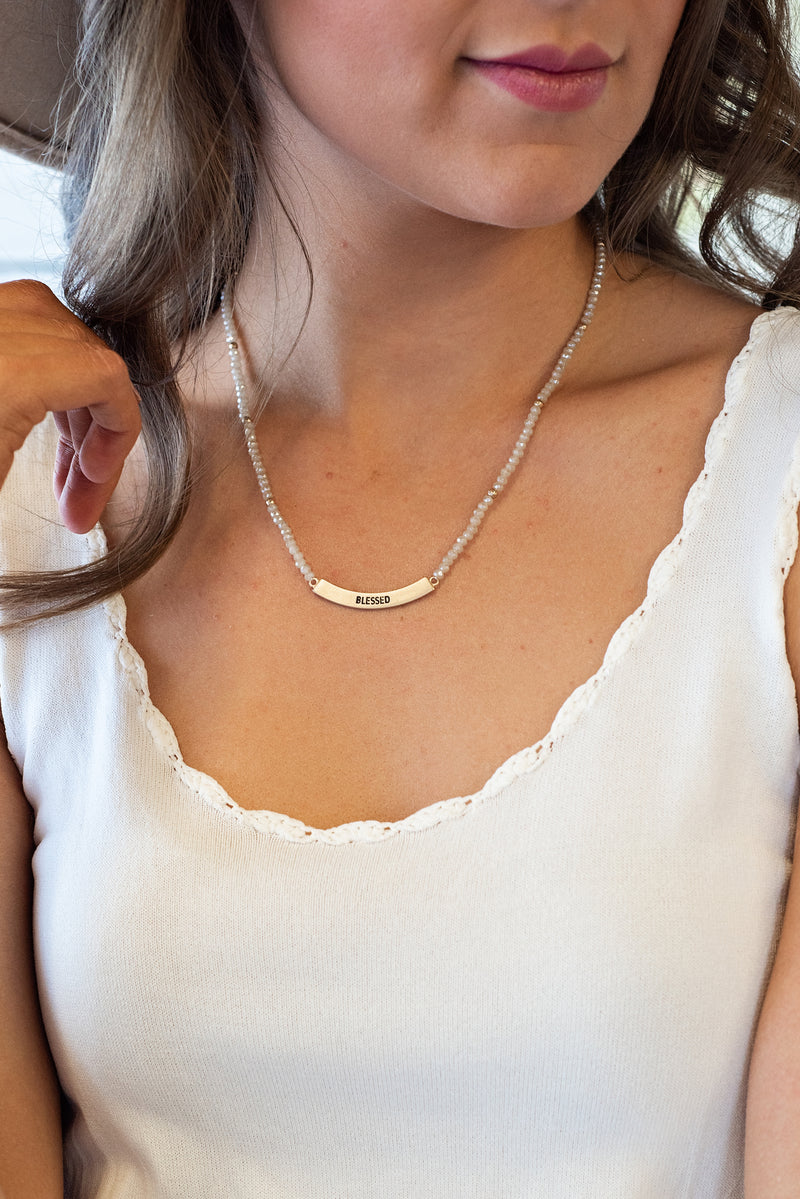 Blessed Curved Bar Beaded Necklace : Gold