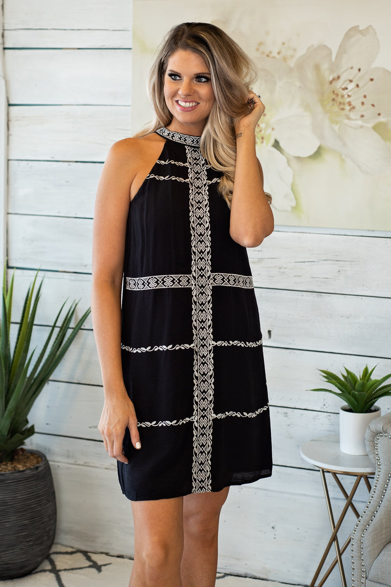 Follow Where You Go Embroidered Halter Dress: Black/White
