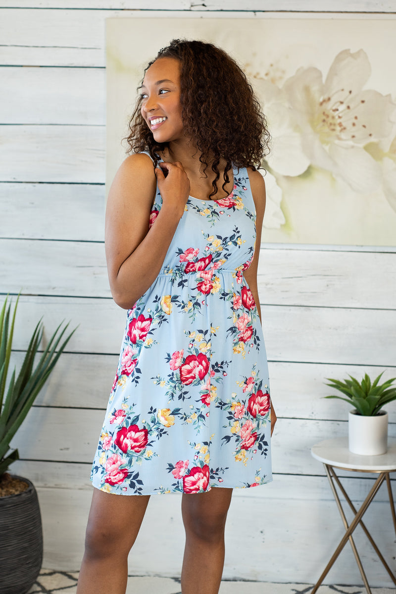 Paradise Crush Floral Print Dress : Blue