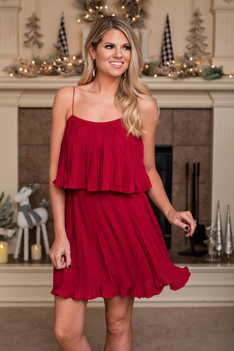 Winter Bouquet Pleated Dress : Ruby