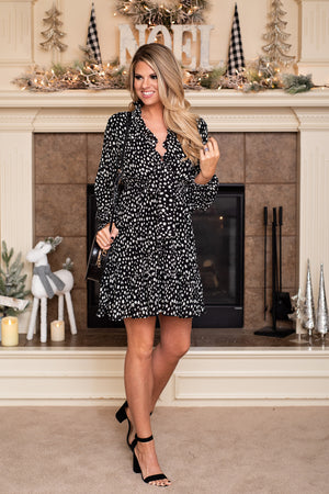 Dinner on the Plaza Dot Dress : Black
