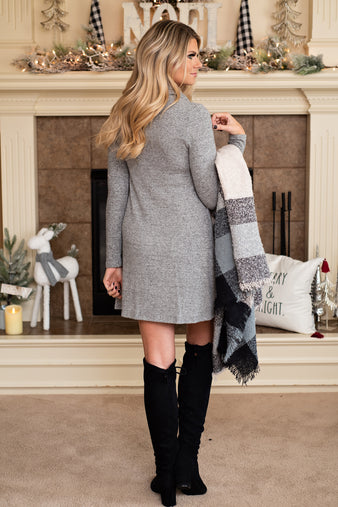 Snow & Lattes Turtleneck Shift Dress : H. Grey