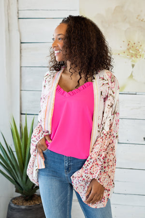 Wrap Me In Flowers Ruffle Sleeve Kimono: Floral