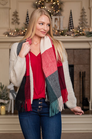 Blocked Blanket Scarf : Red & Green