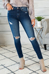 Beginners Luck Distress High Rise Ankle Skinny: Dark Wash