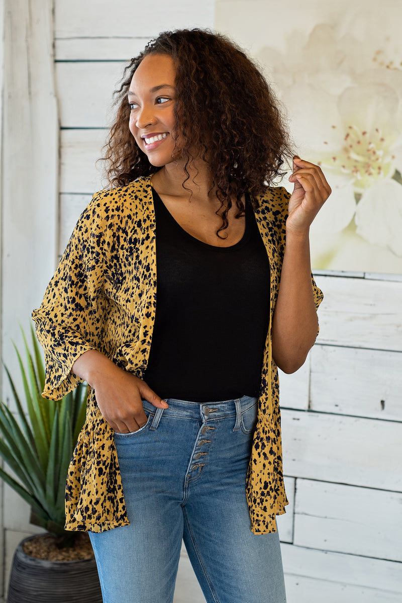 No One To Blame Peplum Hem Cardigan: Mustard Combo