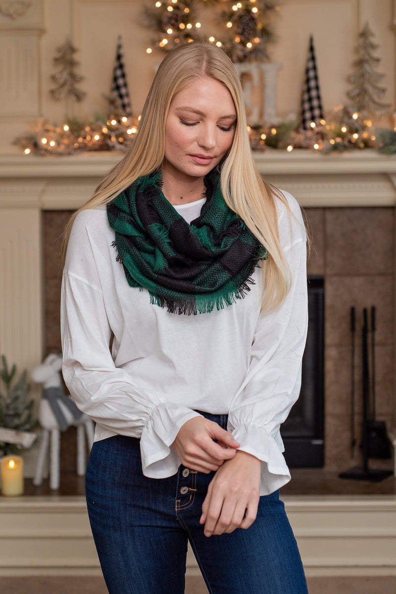 Buffalo Check Infinity Scarf : Black & Green