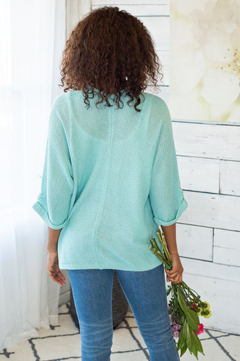 Ocean Waves You And Me Cardigan: Aqua