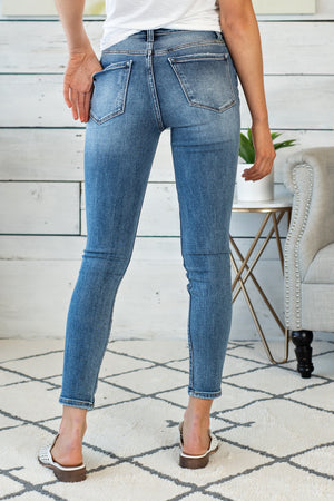 Haylie High Rise Distressed Ankle Skinny : Med. Wash