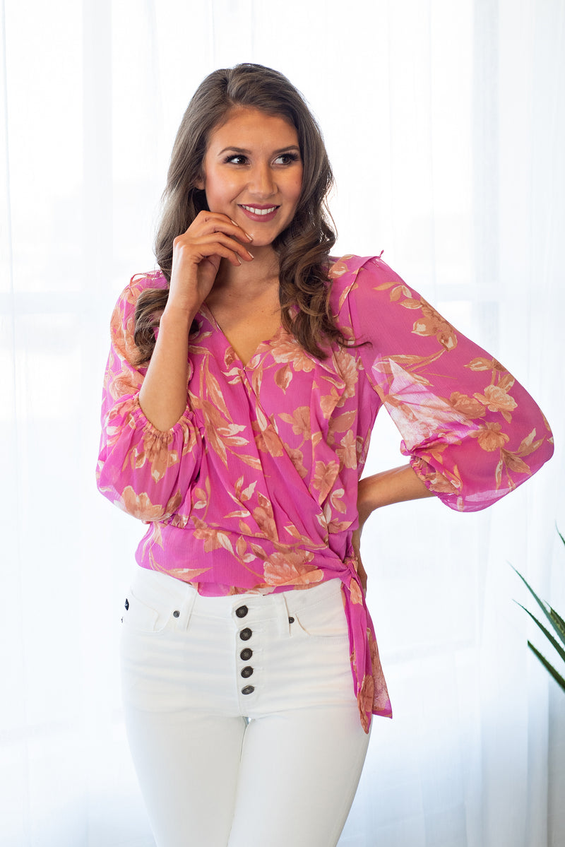 Cover Me In Pink Blouse: Pink Floral