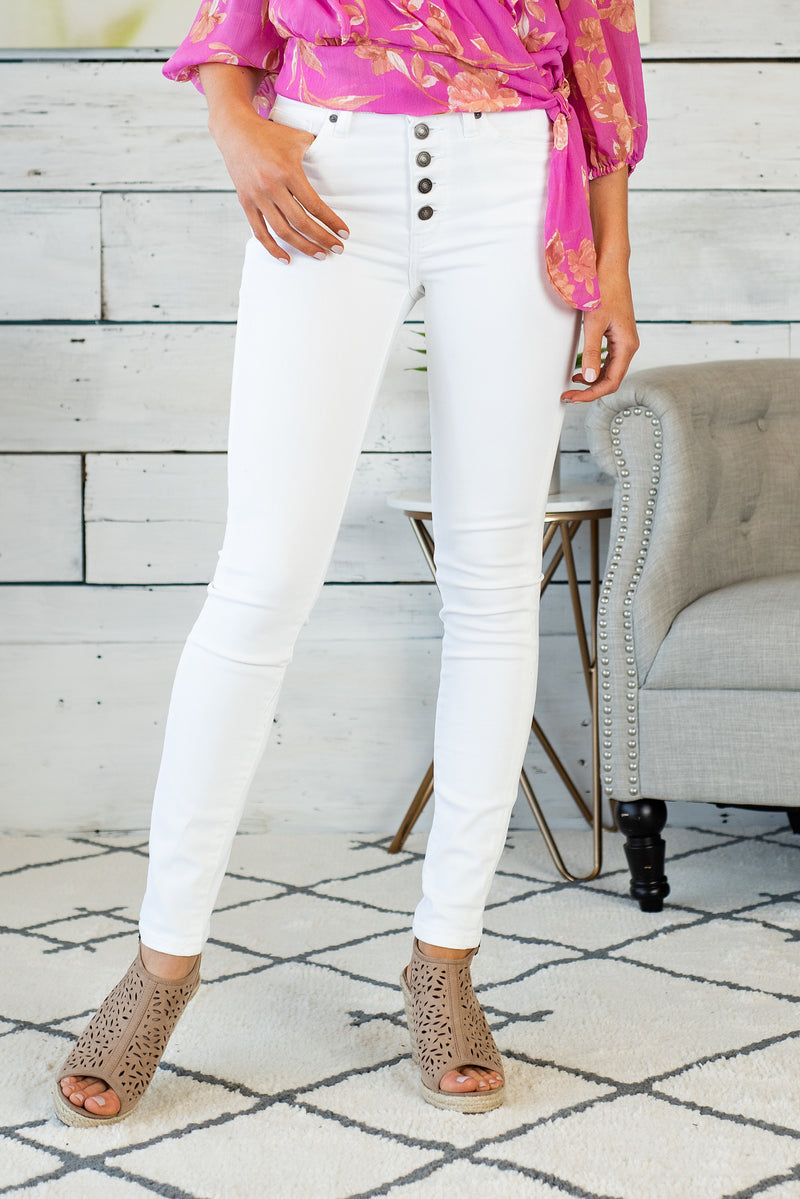 Mila Gemma High Rise Super Skinny Denim : White