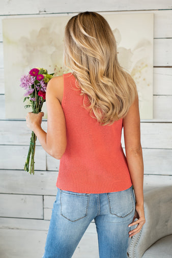 Life's A Breeze Sweater Tank : Coral