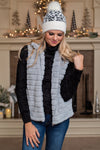 Winter Chalet Faux Fur Plush Zip Up Vest : Grey