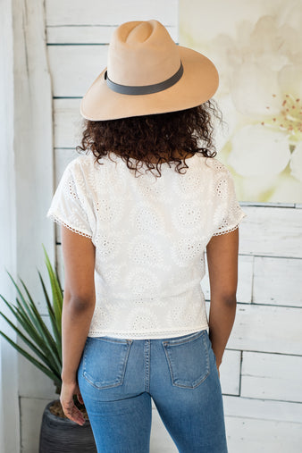 Most Days Eyelet Top : White
