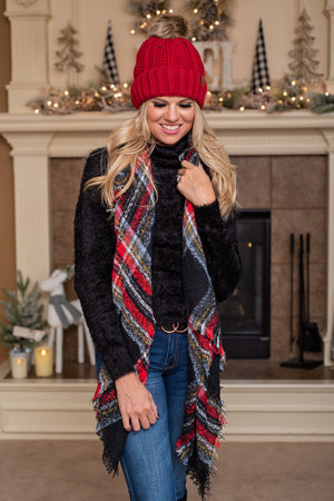 Plaid Blanket Scarf : Red & Black