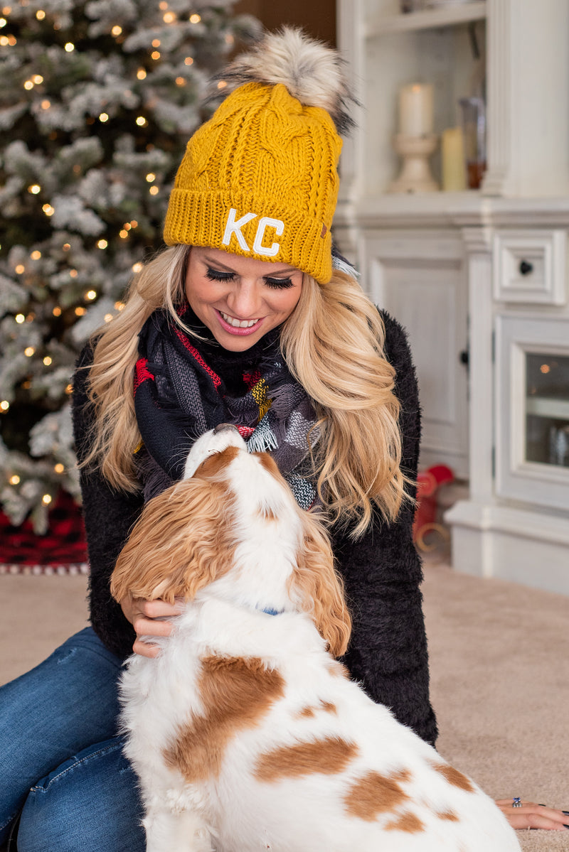 KC Fleece Lined Pom Beanie : Mustard