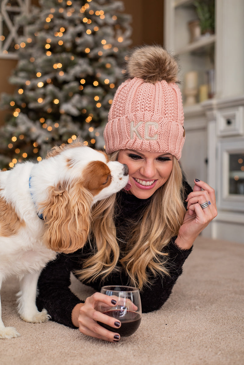 KC Fleece Lined C.C. Pom Beanie : Pink