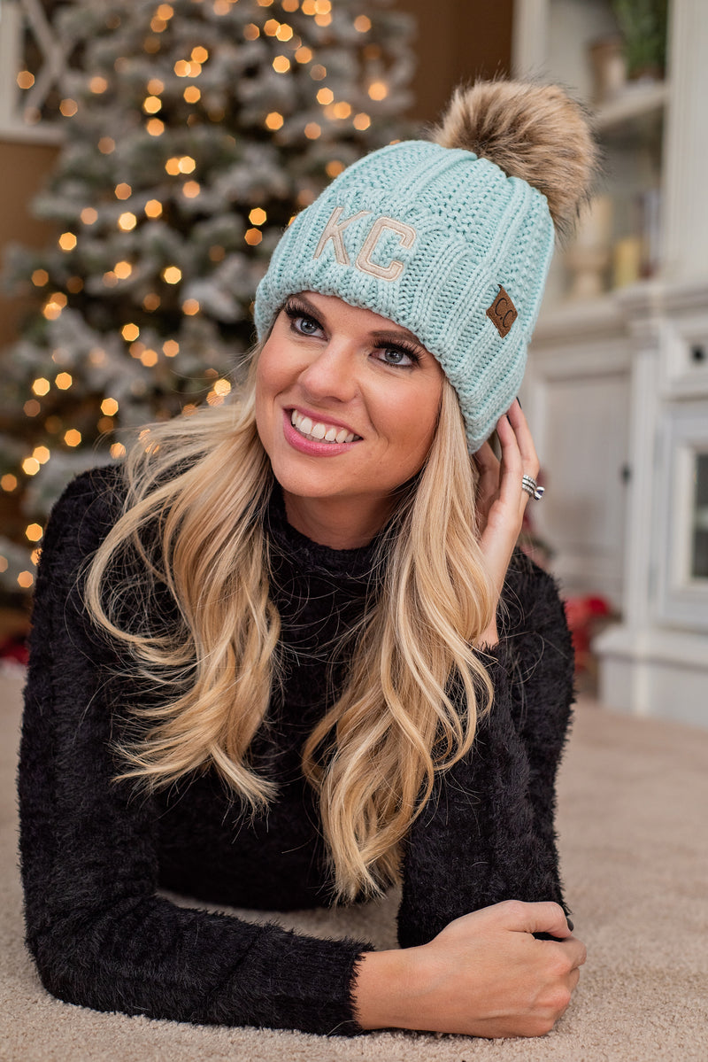 KC Fleece Lined C.C. Pom Beanie : Mint