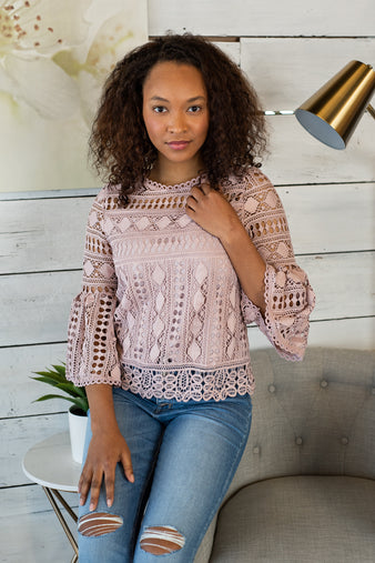 Modern Vintage Lace Bell Sleeve Top : Blush