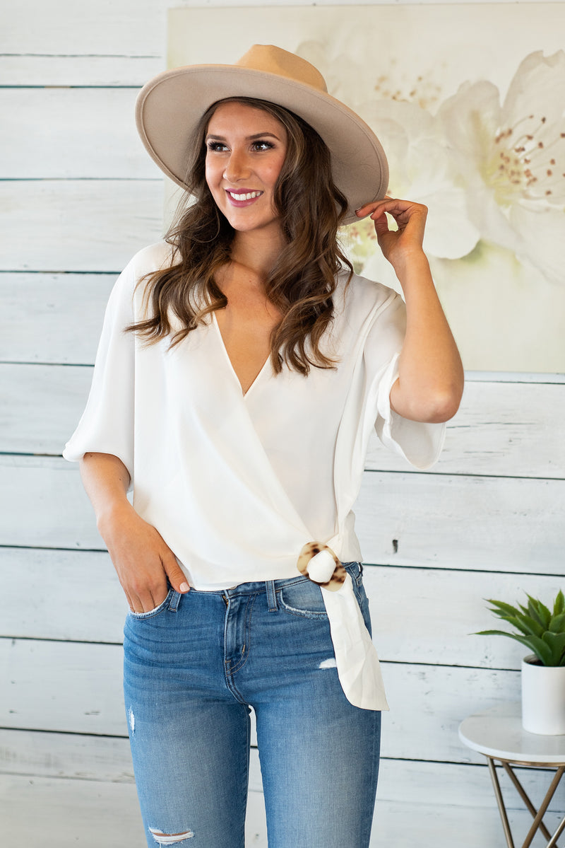 Wait Forever Wrap Front Top : Ivory