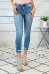 Malibu Nights Super High Rise Crop Skinny Denim: Med Blue