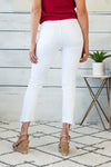 Deanna High Rise Slip Crop Straight Jeans : Optic white