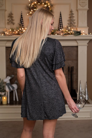 Rooftop Christmas Shift Dress : Black