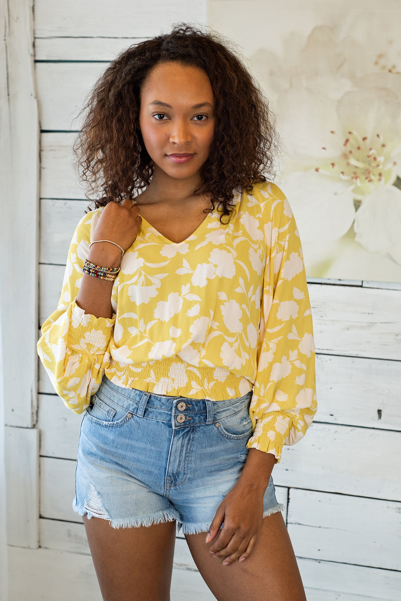 Feelin' The Sun With You Smocking Top: Yellow