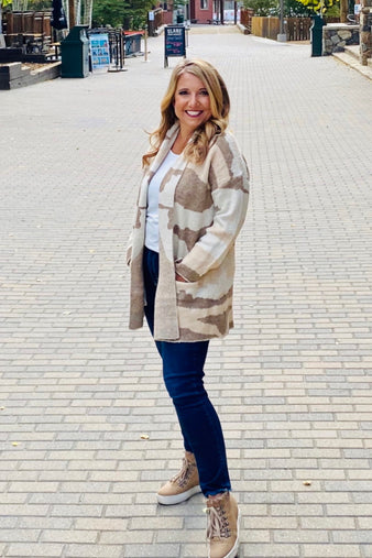 Let's Weekend Camo Cardigan : Taupe