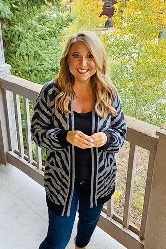 Wrap Me Up Zebra Balloon Sleeve Cardigan : Char/Blk