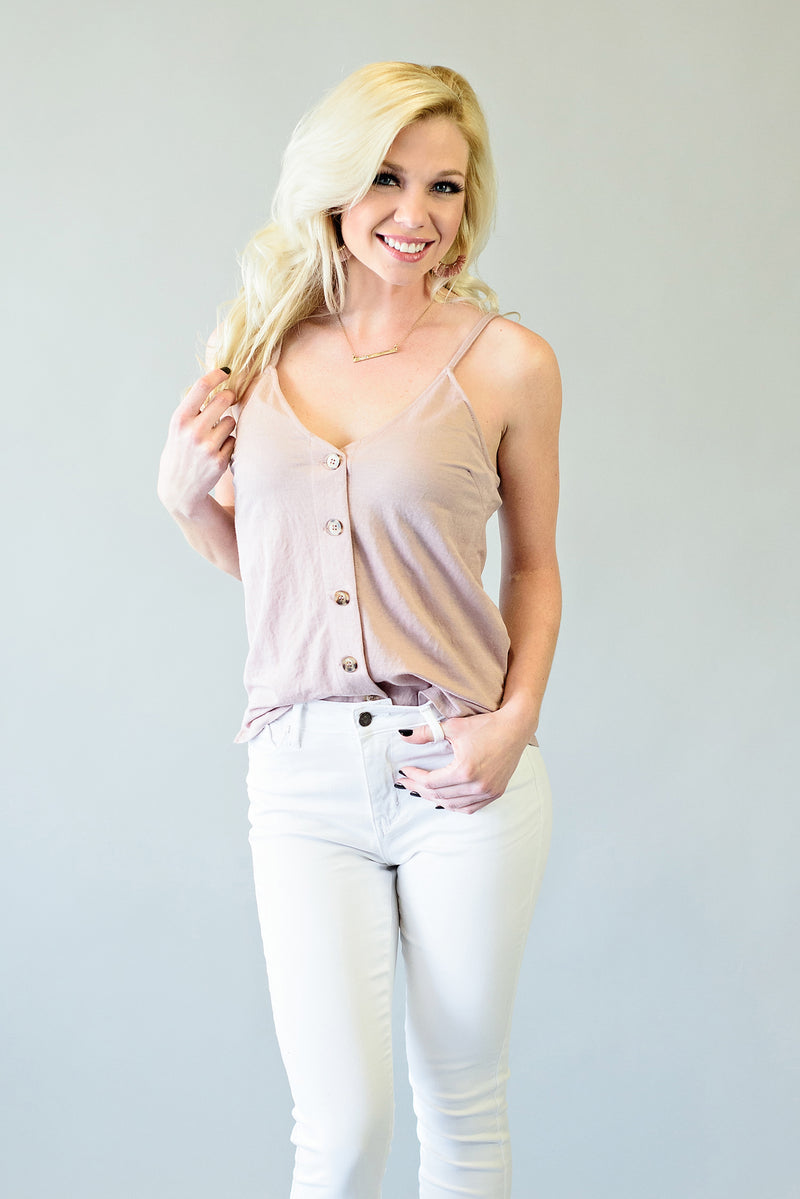 Be Alright Button Tank Top : Mauve