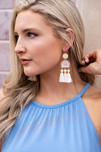 Take Your Chances Gold Coin Tassel Earrings : Natural