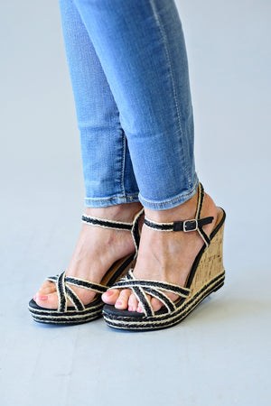 Carmela Wedge Sandal : Black