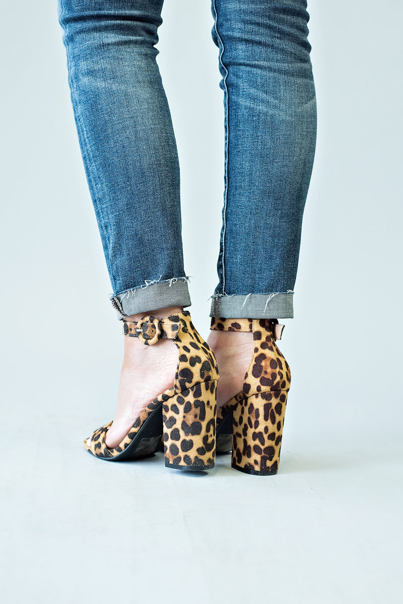 Friday Strap Block Heel : Leopard