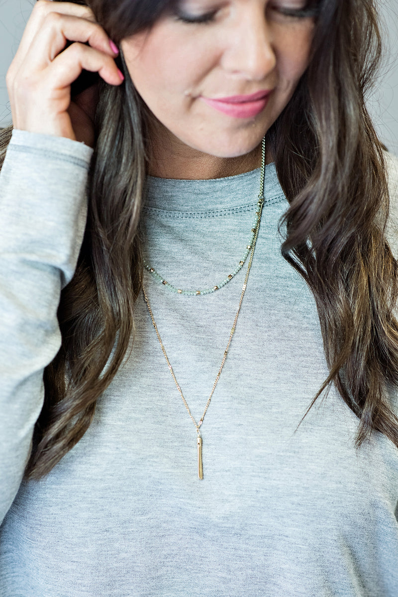 Mila Layered Necklace : Mint/Gold