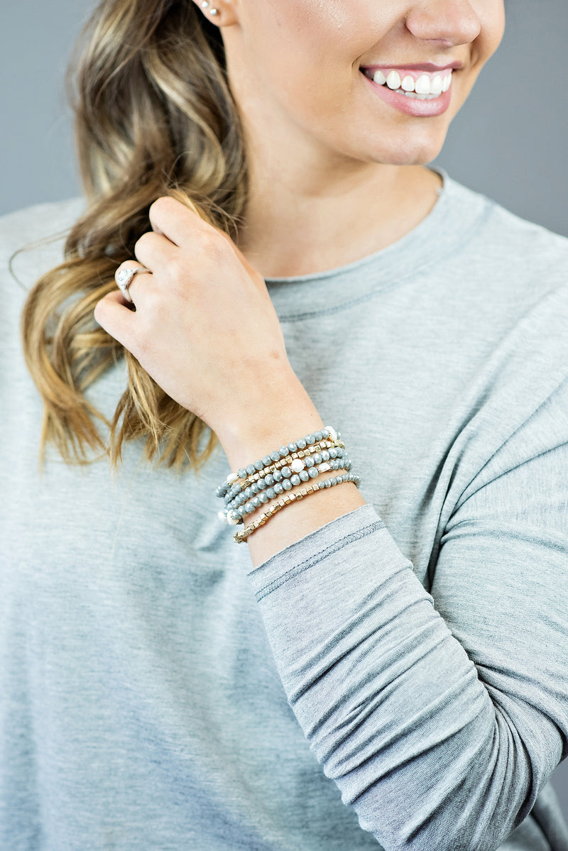 Alyssa Stretch Bracelet : Grey